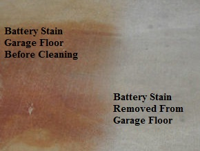 Battery Acid Stain Removal From Garage Floor CT